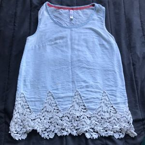 Soft chambray top with lace detail at the bottom